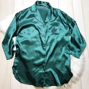 Victoria's Secret Green Satin Nightgown Shirt